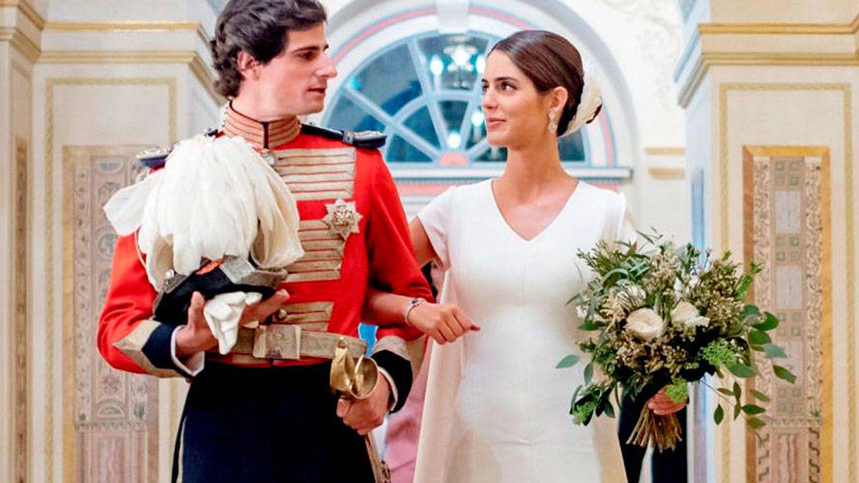 El duque de Huéscar y Sofía Palazuelo, el día de su boda. (EFE)