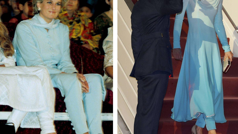 Diana de Gales en Pakistán en 1996 / Kate Middleton en Pakistán este lunes. (Cordon Press / Reuters)