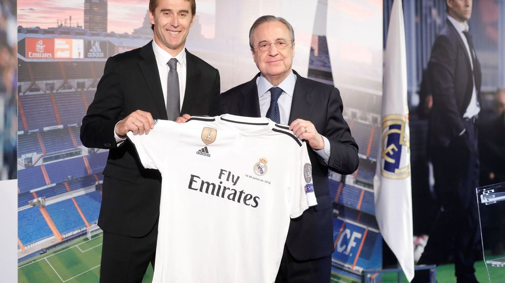 Foto: Julen Lopetegui posando junto a Florentino Pérez en el Bernabéu. (EFE)