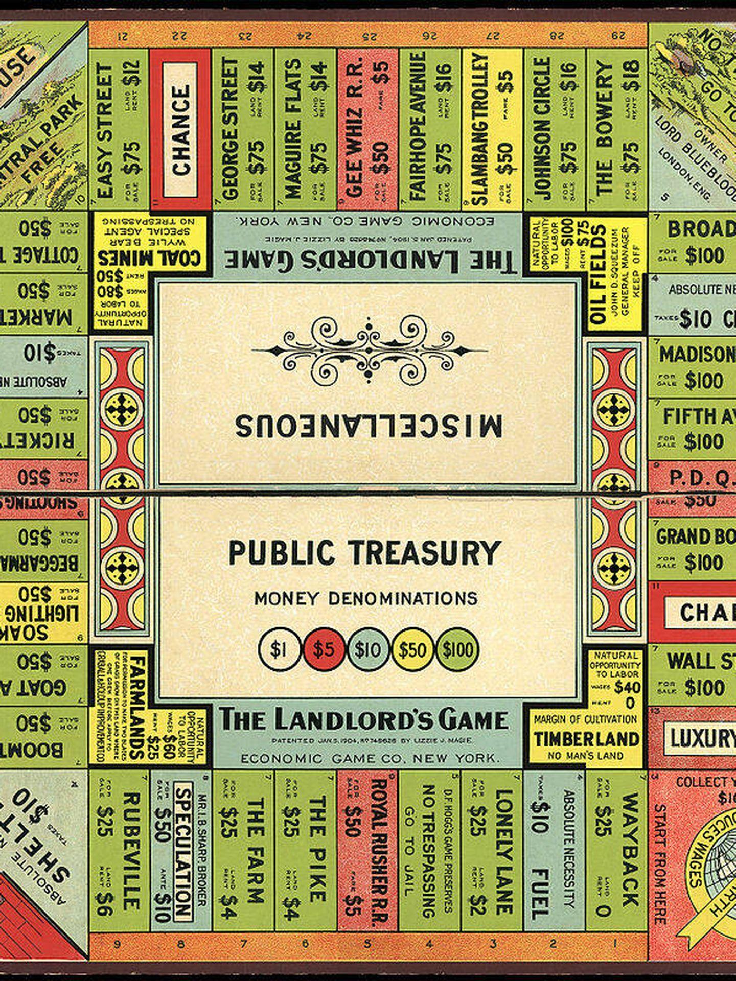 Tablero de 'The Landlord's Game', diseñado por Elizabeth Magie. (Dominio público)