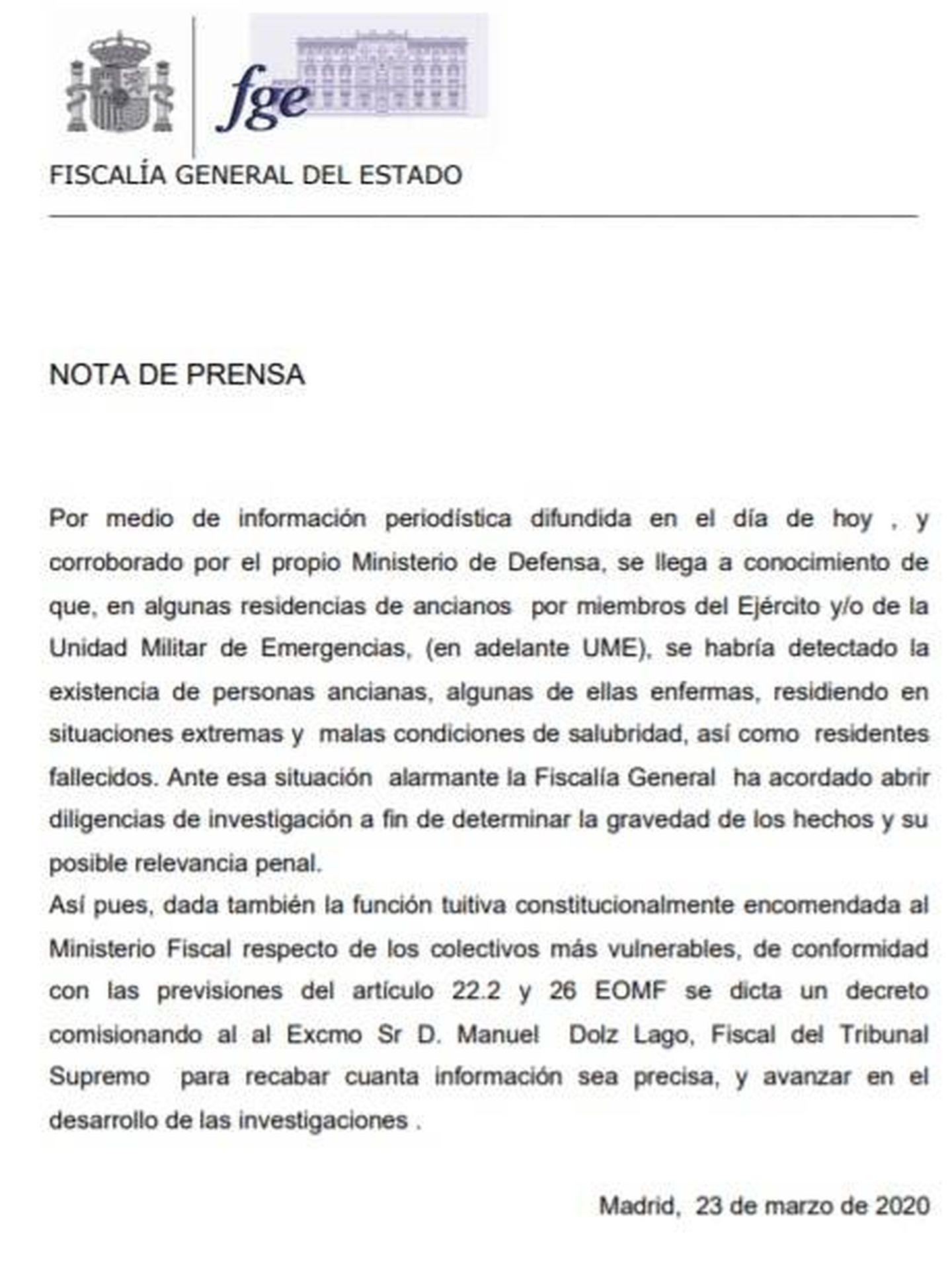 Consulte aquí en PDF el comunicado de la Fiscalía sobre la investigación de fallecidos por Covid-19 en residencias de mayores.