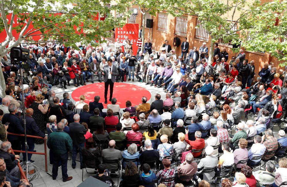 Foto: Pedro Sánchez, este 15 de abril en un acto de campaña en Leganés, Madrid. (EFE)