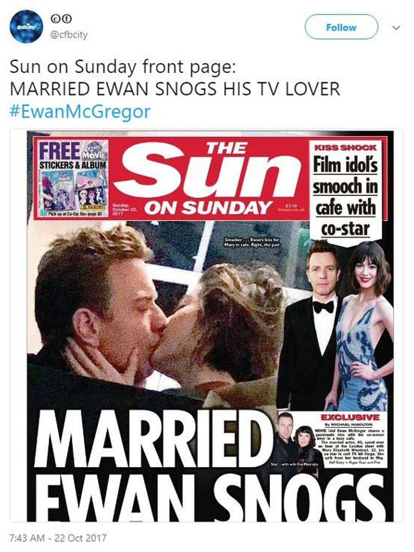 Imagen de la portada del diario 'The Sun' con Ewan McGregor.