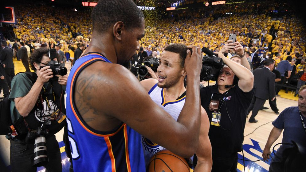Foto: Durant y Curry serán a partir de ahora compañeros (Kyle Terada-USA TODAY Sports)