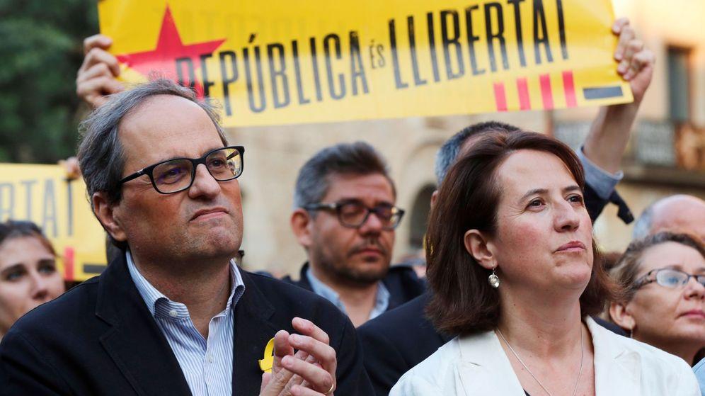 Foto: El presidente de la Generalitat, Quim Torra, en una concentración para reclamar la libertad de los soberanistas en prisión. (EFE)