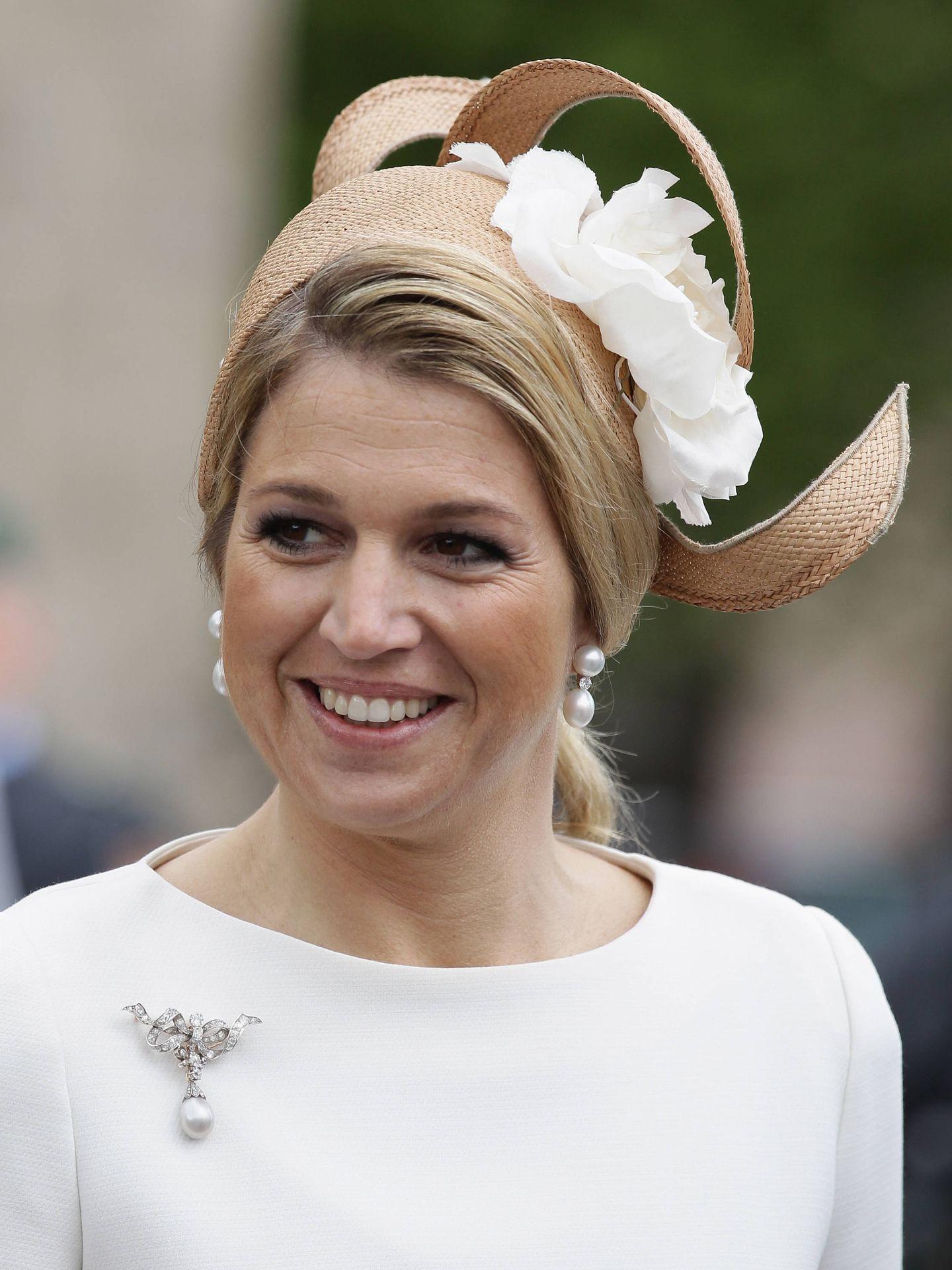 Máxima de Holanda, con pendientes de perlas. (Getty)