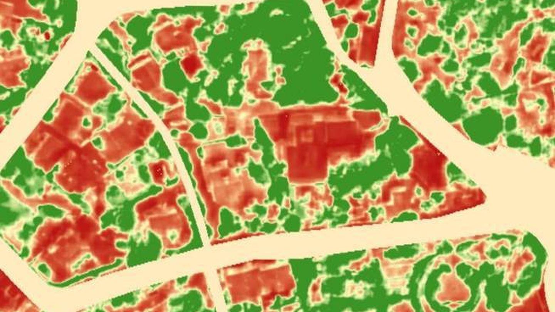 Imagen de infrarrojos tomada en la misma zona que la anterior por el satélite Pleiade.