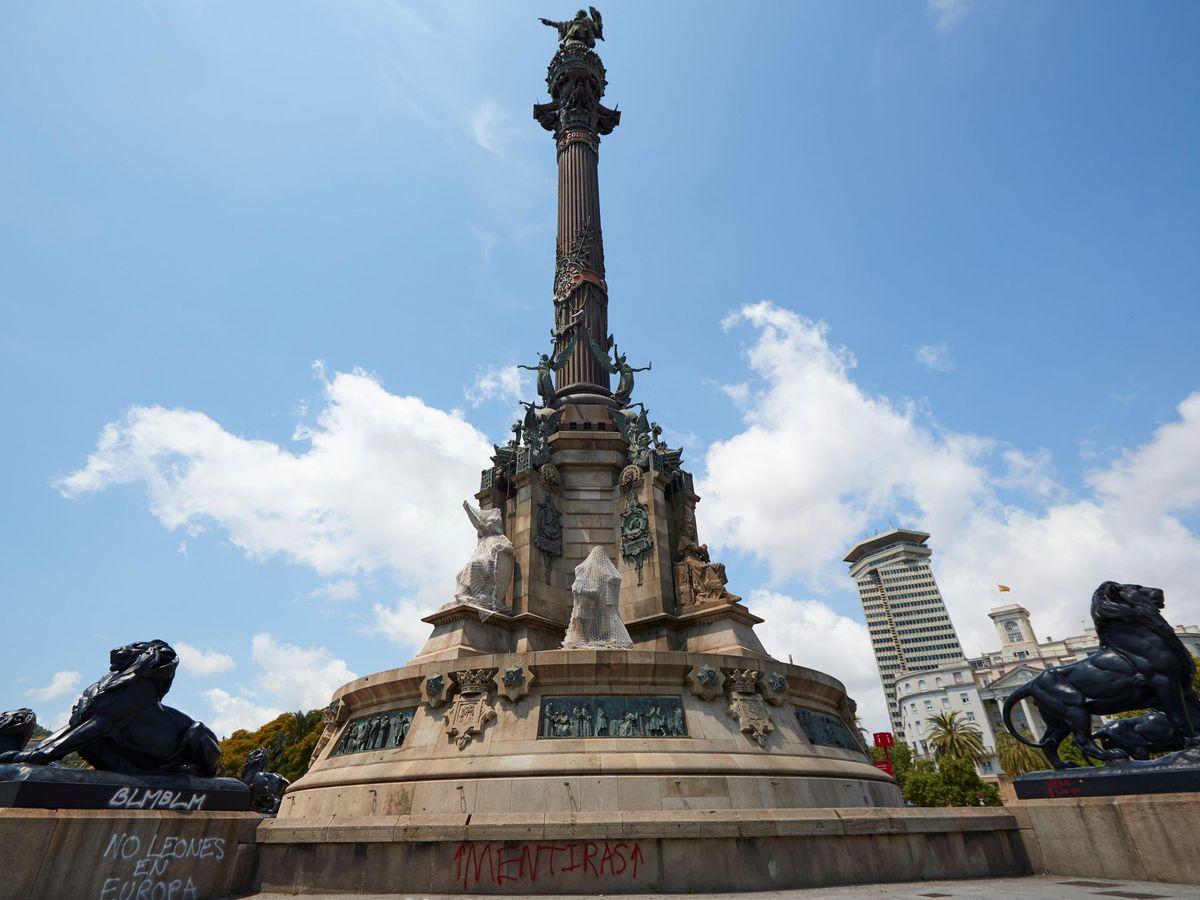Foto: Vista de la estatua de Colón situada al final de las Ramblas de Barcelona. (EFE)