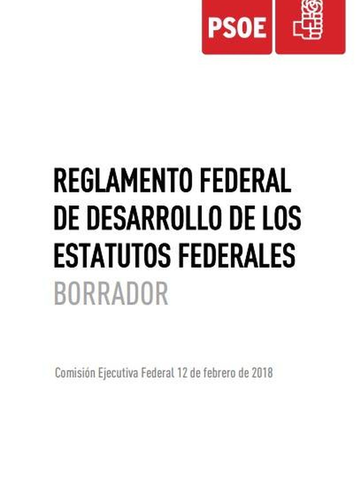 Pincha aquí para consultar en PDF el borrador de reglamento del PSOE aprobado por la ejecutiva de Pedro Sánchez. (EC)
