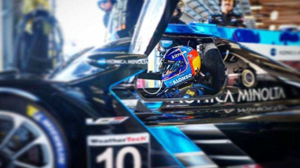 Foto: Fernando Alonso en los recientes entrenamientos de Daytona. (@alo_oficial)