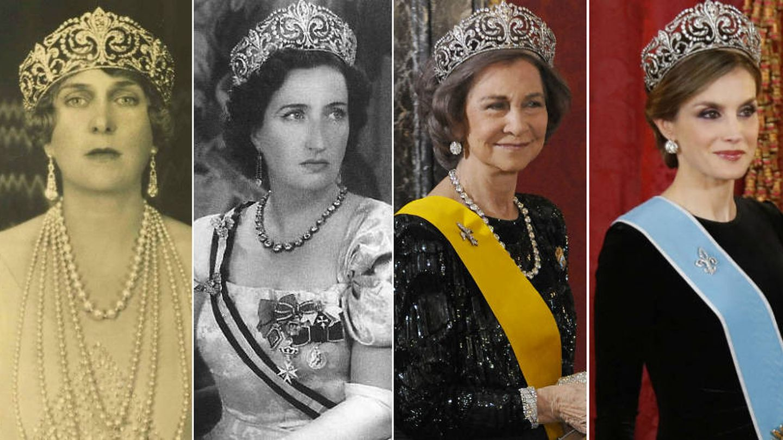 Victoria Eugenia, la condesa de Barcelona, Sofía y Letizia con la Flor de Lis