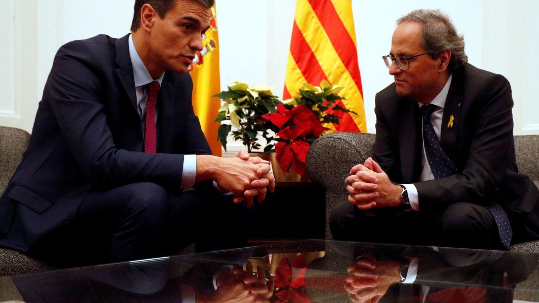 Pedro Sánchez y Quim Torra, en su reunión de Pedralbes del 20 de diciembre de 2018. (Reuters)