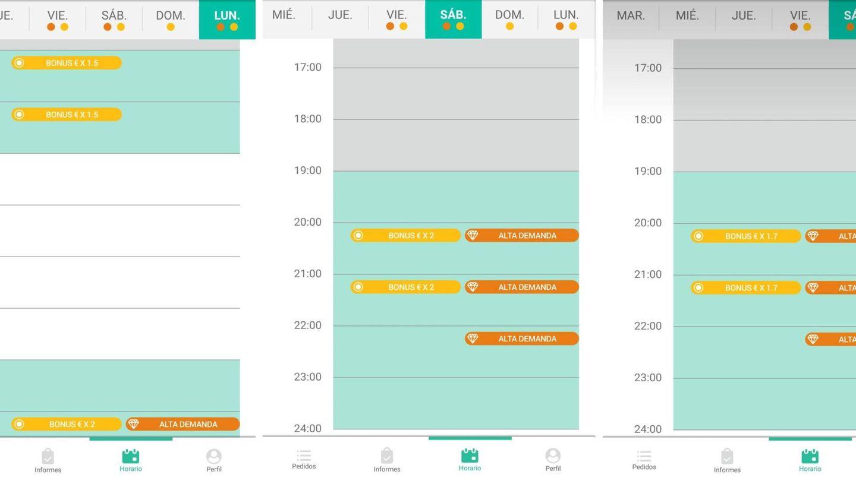 Pantallazo de la app para repartidores que muestran cómo han evolucionado a la baja los bonus de Glovo.