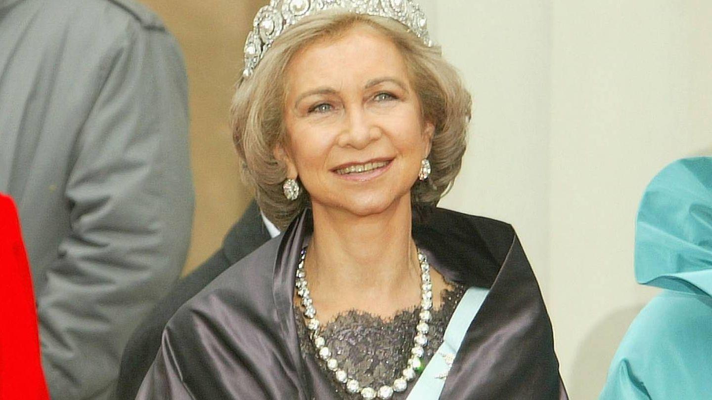 La reina Sofía, en la boda de Federico y Mary de Dinamarca en 2004. (Getty)