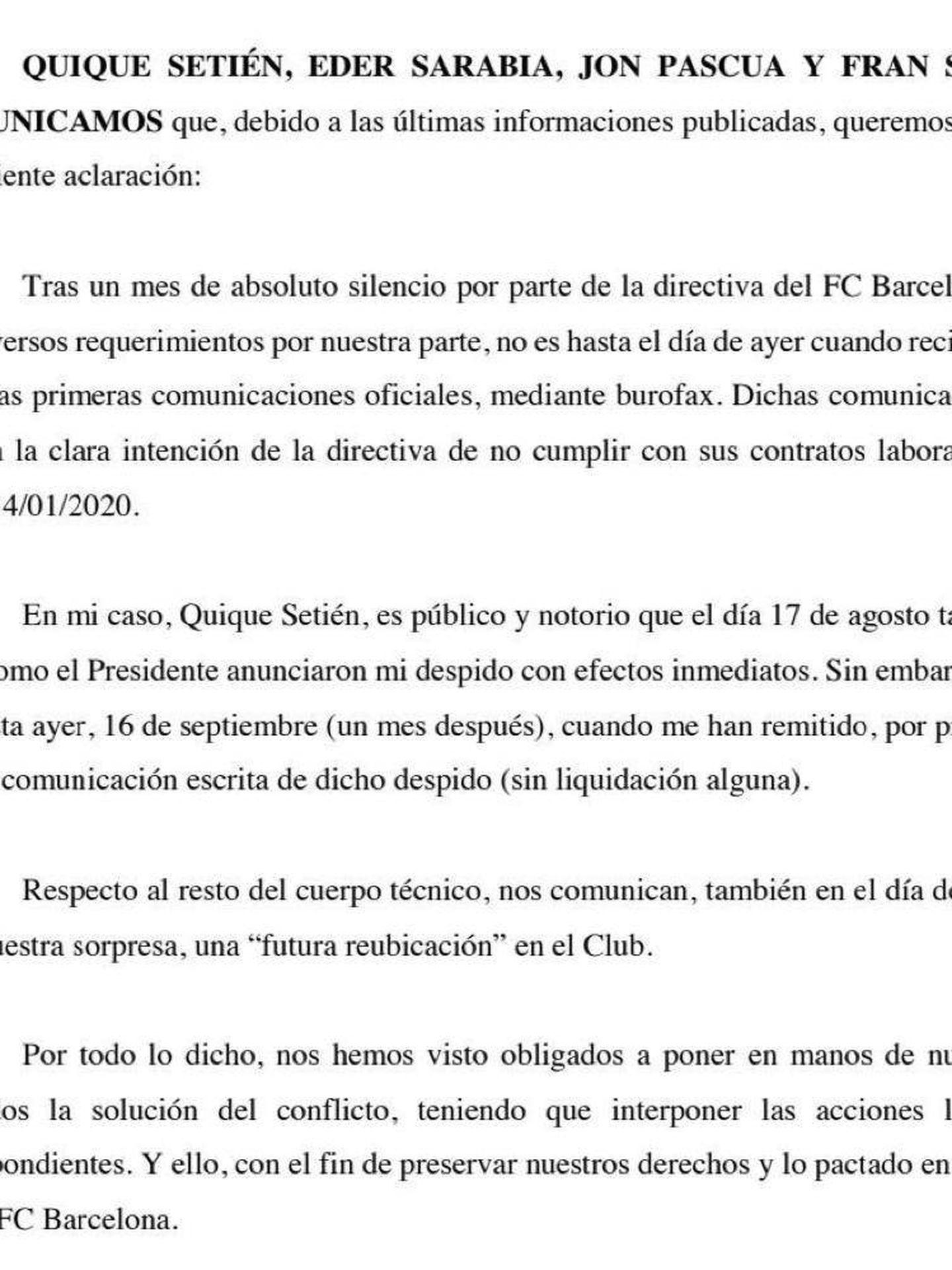 Comunicado de Quique Setién.