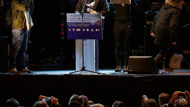 Javier Bardem durante su lectura del manifiesto de la marcha por el clima. (Limited Pictures)