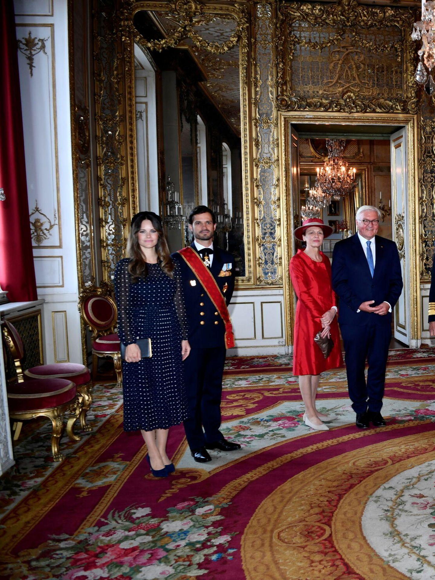 La princesa Sofía y Carlos Felipe, en el almuerzo oficial con el presidente alemán. (Reuters)