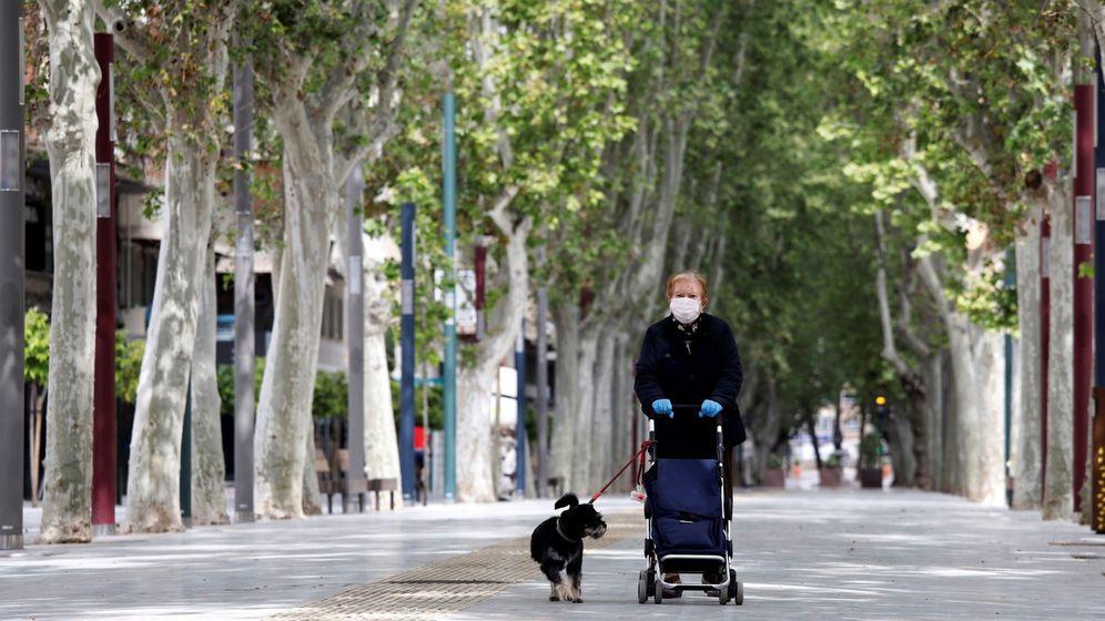 Foto: Una mujer provista de mascarilla y guantes camina por el desierto Paseo de Alfonso X El Sabio de Murcia. (EFE)