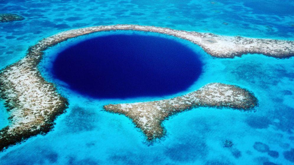 Foto:  Vista aérea del famoso agujero azul del Caribe