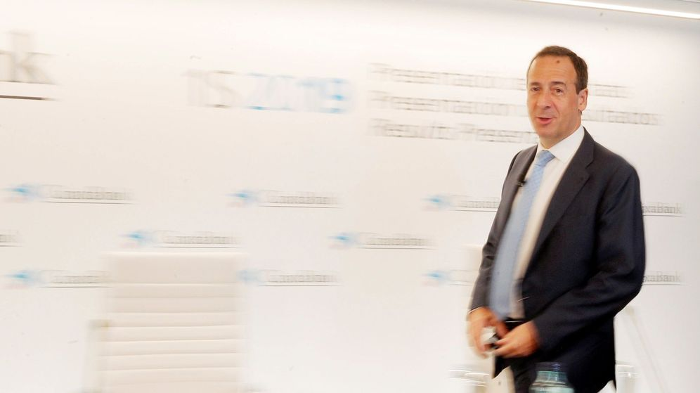 Foto: Gonzalo Gortázar en la presentación de resultados del primer semestre de CaixaBank en Valencia. (EFE)