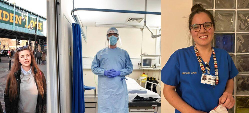 Foto: Tania, Miguel y Marina, tres españoles que trabajan en hospitales de Reino Unido.