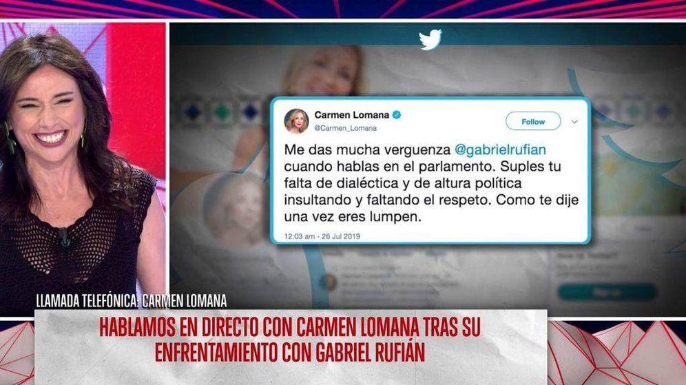 Foto: La llamada telefónica de Camen Lomana, en el programa 'Todo es mentira'. (Mediaset España)