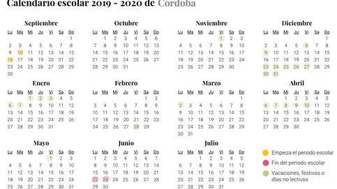 Calendario escolar 2019-2020 en Córdoba: vacaciones, festivos y días no lectivos