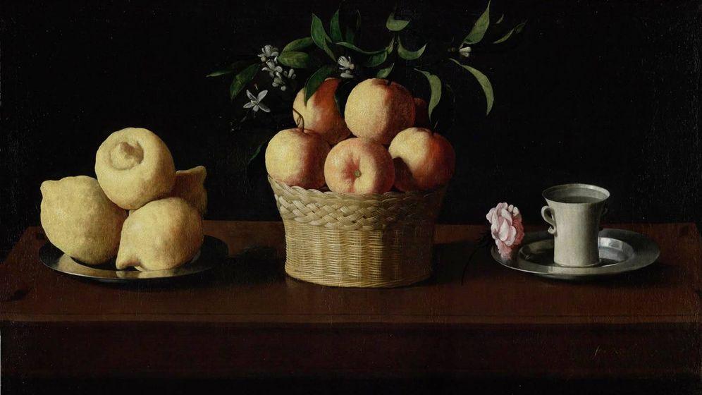 Foto: Naturaleza muerta con limones, naranjas y una rosa. (Zurbarán)