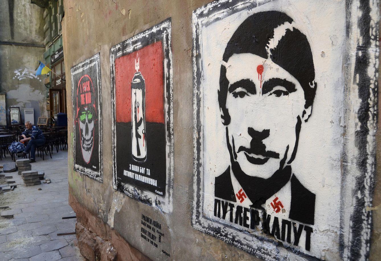 Foto: Una pintada denostando a Putin en un muro de la ciudad ucraniana de Lviv, el 9 de mayo de 2015 (Reuters).