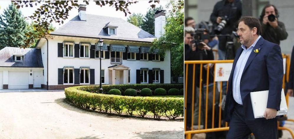 Foto: La mansión de Puigdemont en Bélgica y la llegada de Junqueras a la Audiencia Nacional el pasado 2 de octubre. (EC)