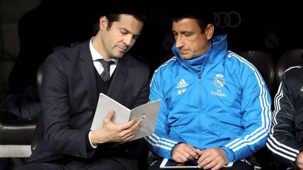 Foto: Solari, durante el partido contra la Real. (EFE)