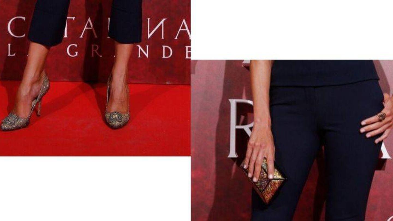 Zapatos de Manolo Blahnik, clutch de Yliana Yepez y sortija de Suma Cruz. (Cordon Press)