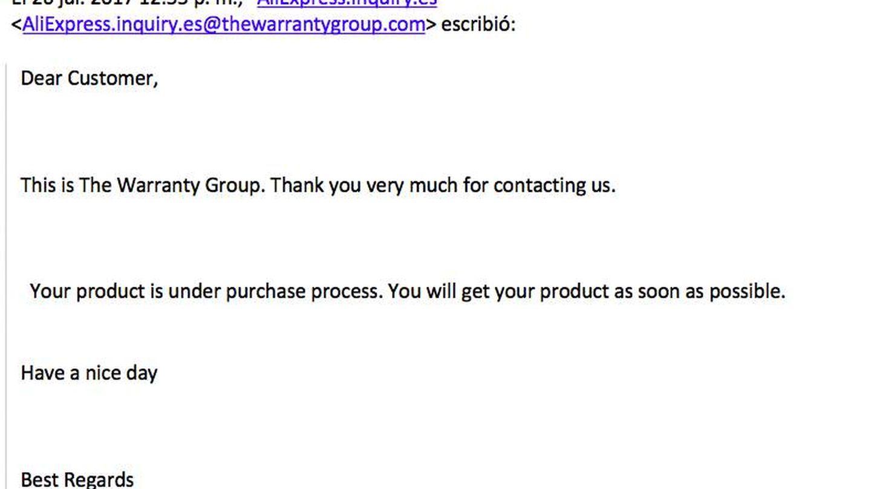 Uno de los avisos enviados por correo electrónico desde Warranty Group.