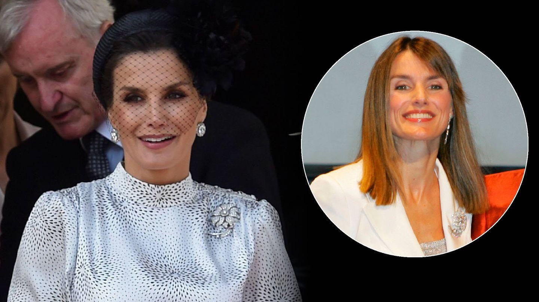 La Reina, con el broche en 2007 y ahora. (LP / Getty)