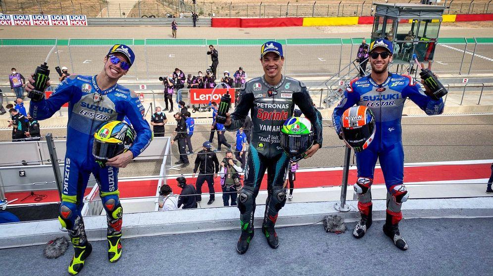 Foto: Morbidelli, Rins y Mir firmaron el podio en Teruel. (MotoGP)