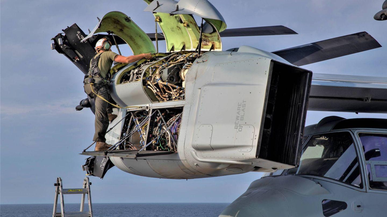 Los músculos del Osprey, sus enormes motores turbohélice Rolls-Royce Allison (US NAVY)