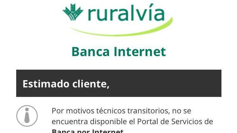 Mensaje de error en la 'app' de Ruralvía.