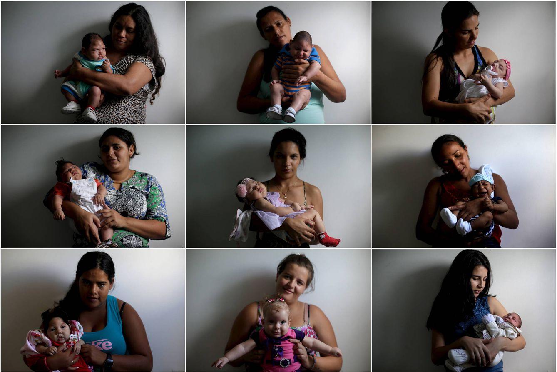 Foto: Madres brasileñas posan con sus bebés en el Hospital Pedro I, en Campina Grande, Brasil, en febrero de 2016 (Reuters).