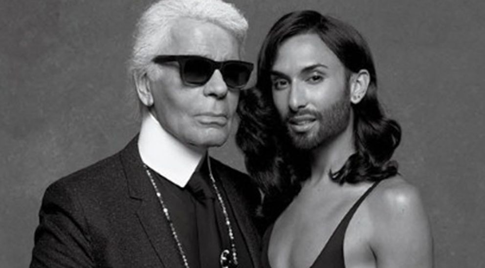 Foto: Conchita y Karl Legerfeld durante la sesión fotográfica (Revista: CR Fashion Book)
