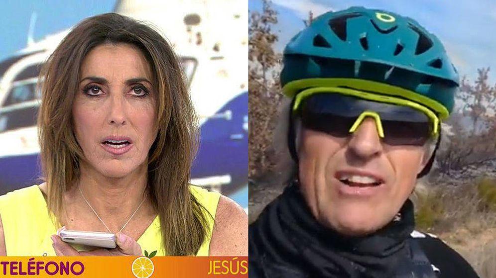 Foto: Paz Padilla llama en directo a Jesús Calleja en 'Sálvame'. (Mediaset)