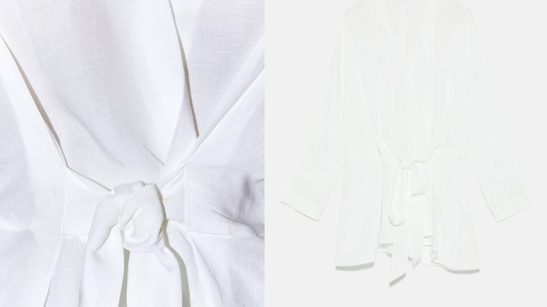 Detalle de la blusa de Zara y silueta.  (Cortesía)
