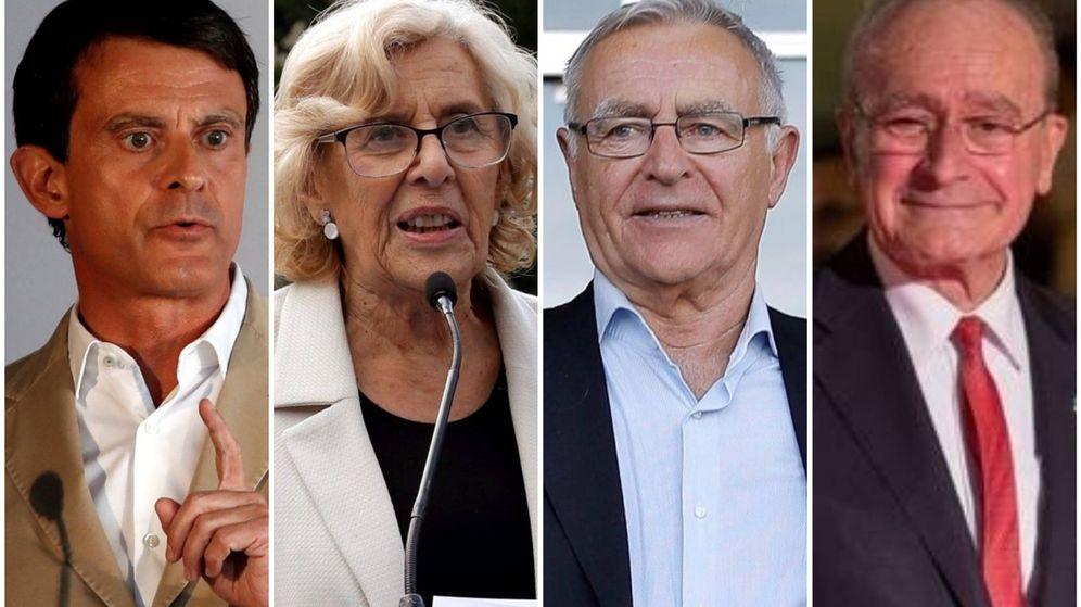 Foto: Manuel Valls, Manuela Carmena, Joan Ribó y Francisco de la Torre. (El Confidencial)