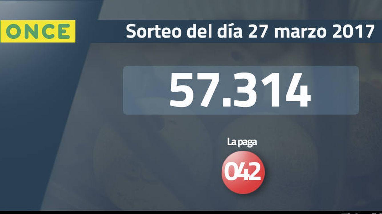 Resultados de la ONCE del 27 marzo 2017: número 57.314