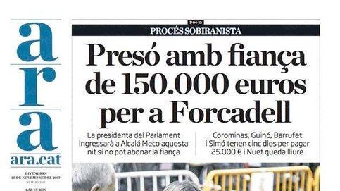 Así cubre la prensa la 'espantada' de Forcadell al 'procés' en sus portadas
