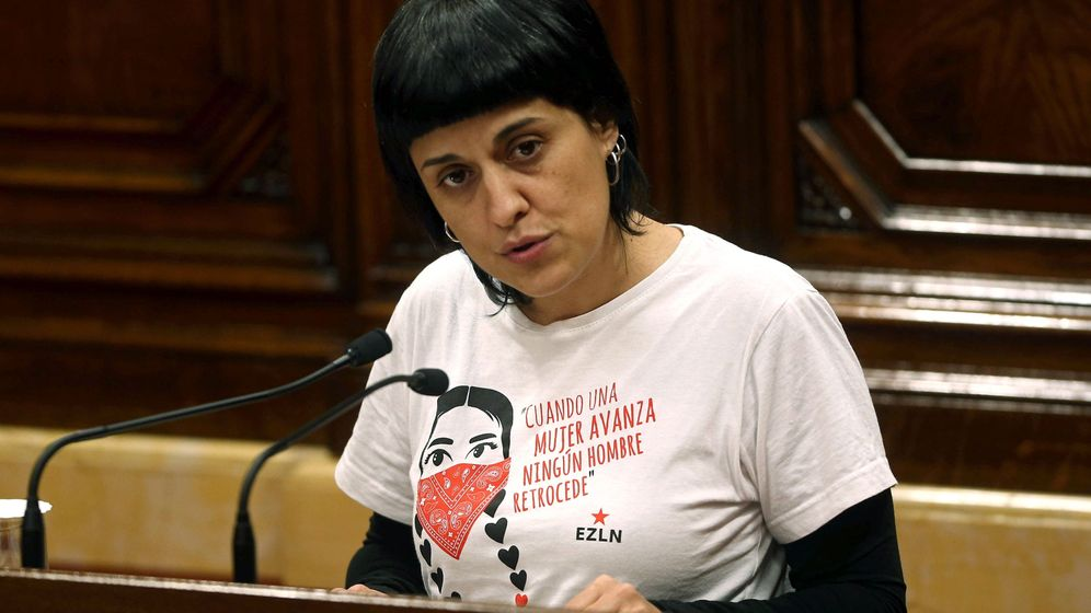 Foto: La diputada de la CUP, Anna Gabriel en el pleno de investidura. (EFE)