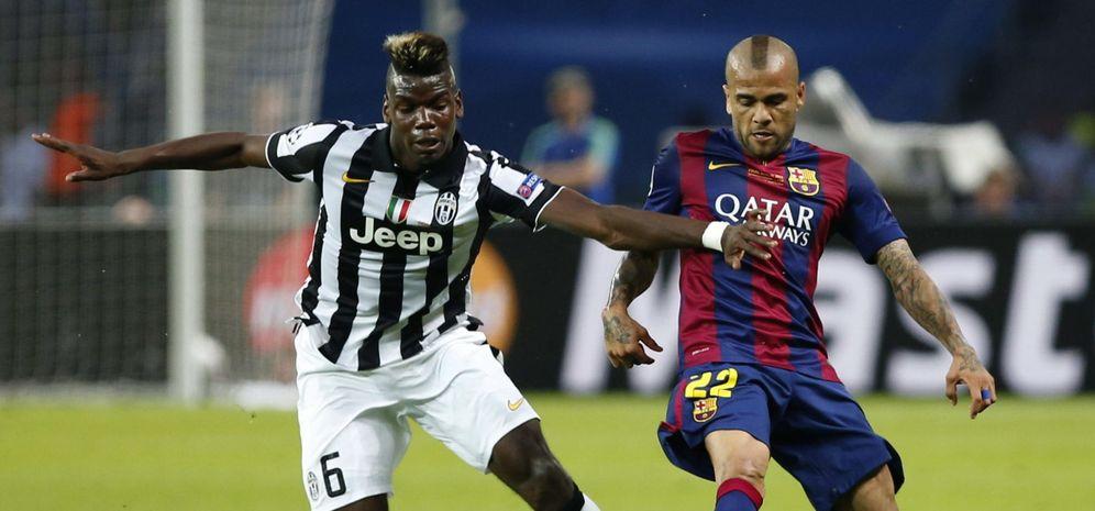 Foto: Pogba junto a Dani Alves durante la última final de la Champions League (EFE)