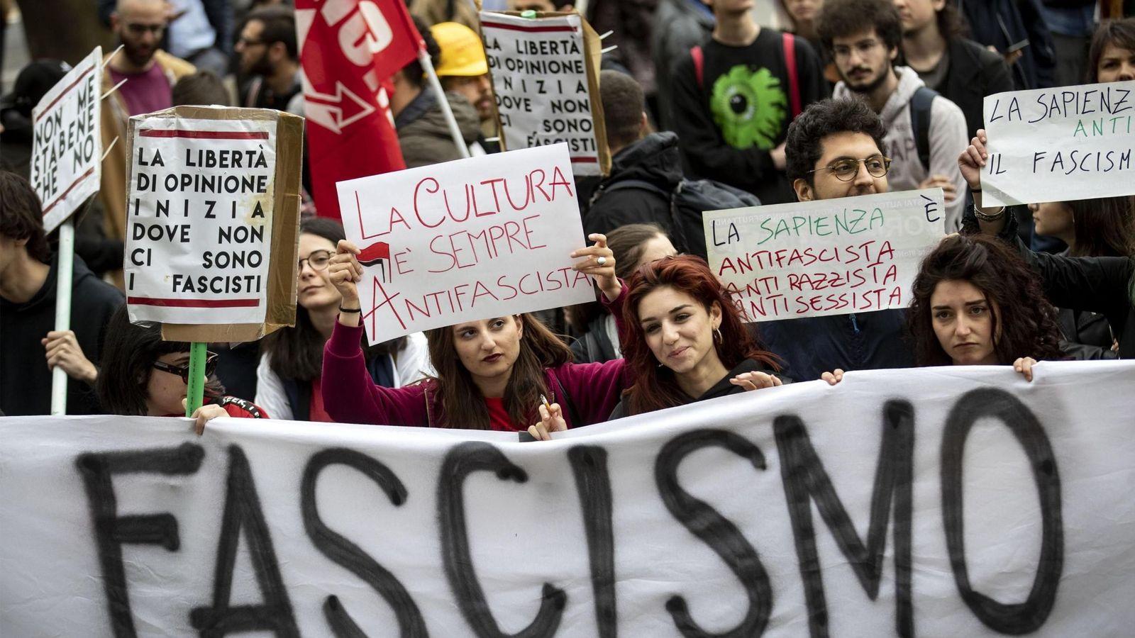 Foto: Manifestación antifascista en Roma. (EFE)