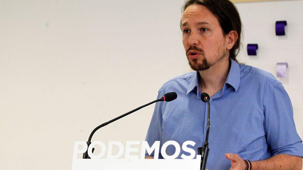 Foto: El secretario general de Podemos, Pablo Iglesias, durante una rueda de prensa en la sede de Princesa 2. (EFE)