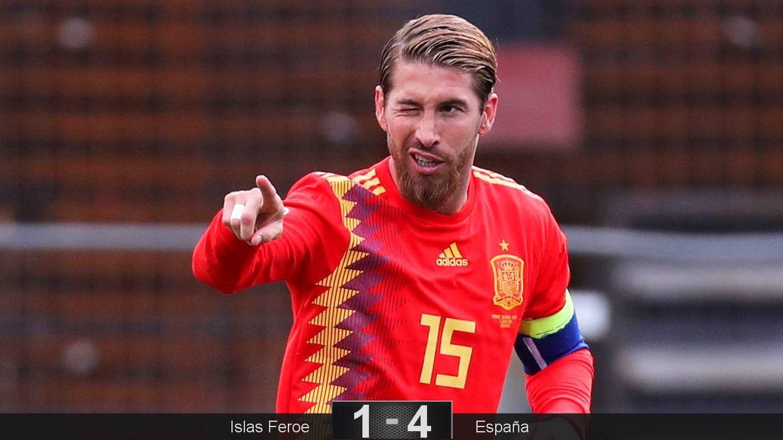 Foto: Sergio Ramos celebra el gol de cabeza en el partido contra las Islas Feroe. (Reuters)