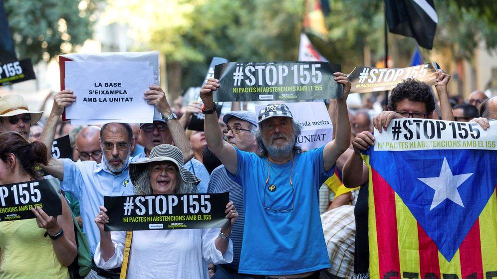 Foto: Concentración organizada por la ANC contra los pactos de los partidos independentistas con los partidos del 155 el pasado julio. (EFE)